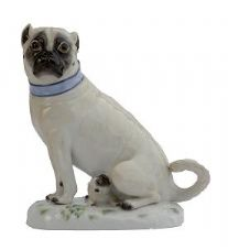 Meissen Porcelain Dog Figurine - Pug with Puppy